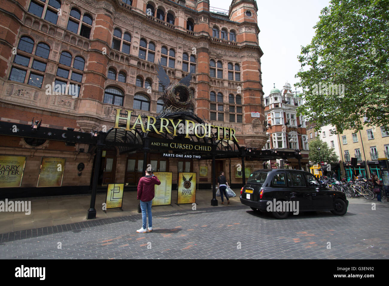 Harry Potter and the cursed child advertised on the Palace Theatre London - Stock Image
