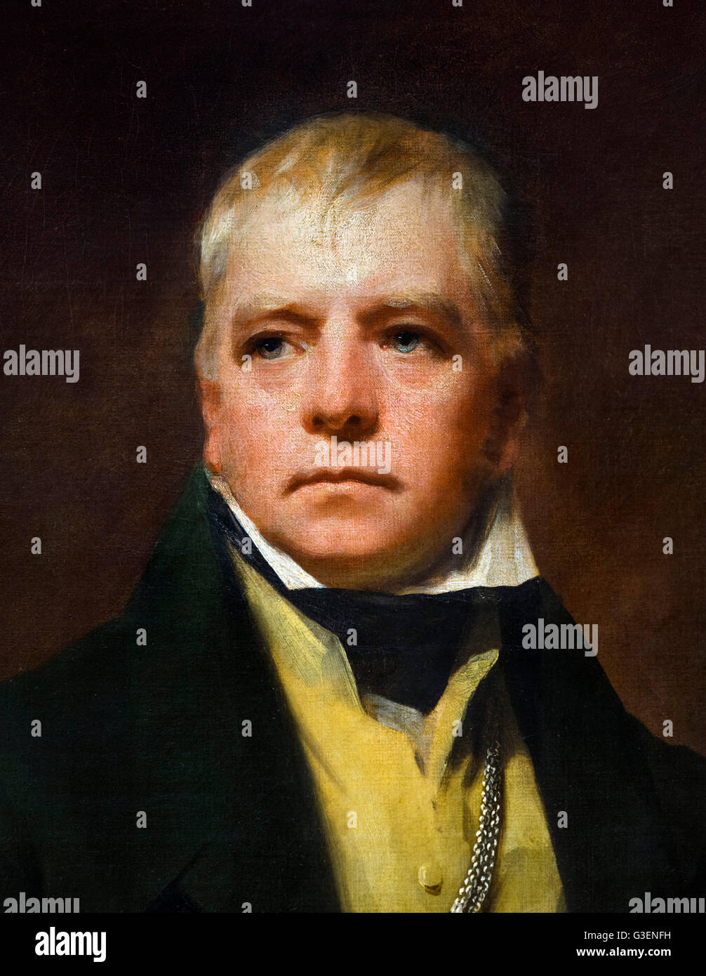 Sir Walter Scott. The Scottish novelist, Sir Walter Scott (1771–1832) portrait by Henry Raeburn, oil on canvas, - Stock Image