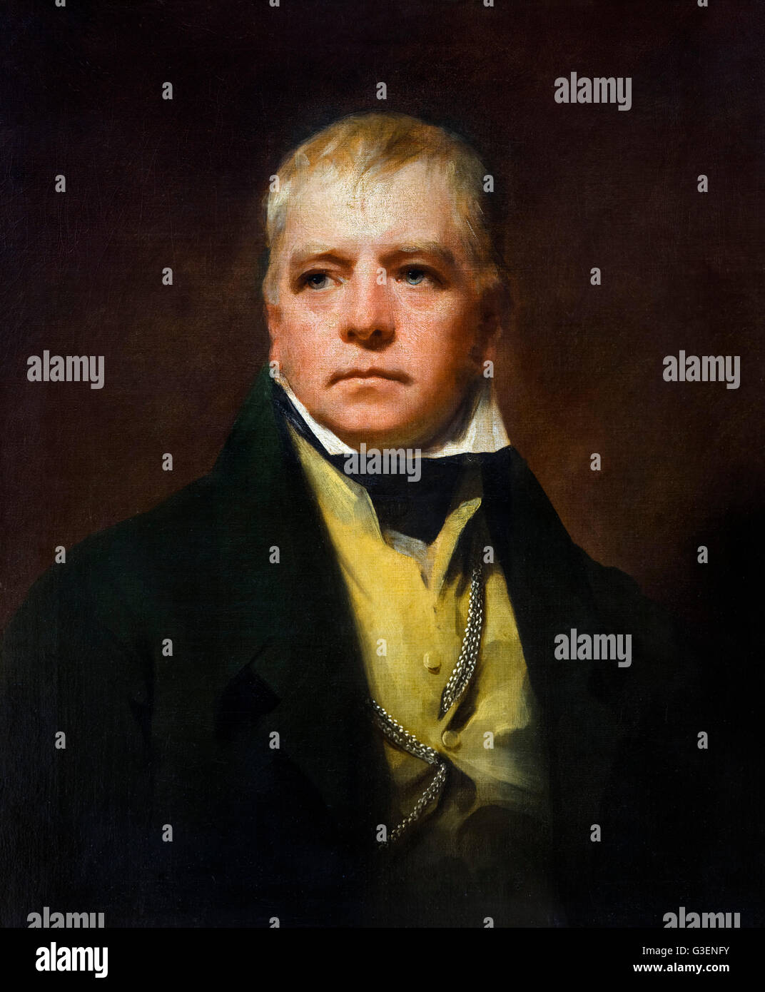 Sir Walter Scott.. Portrait of the Scottish novelist, Walter Scott (1771–1832) by Henry Raeburn, oil on canvas, - Stock Image