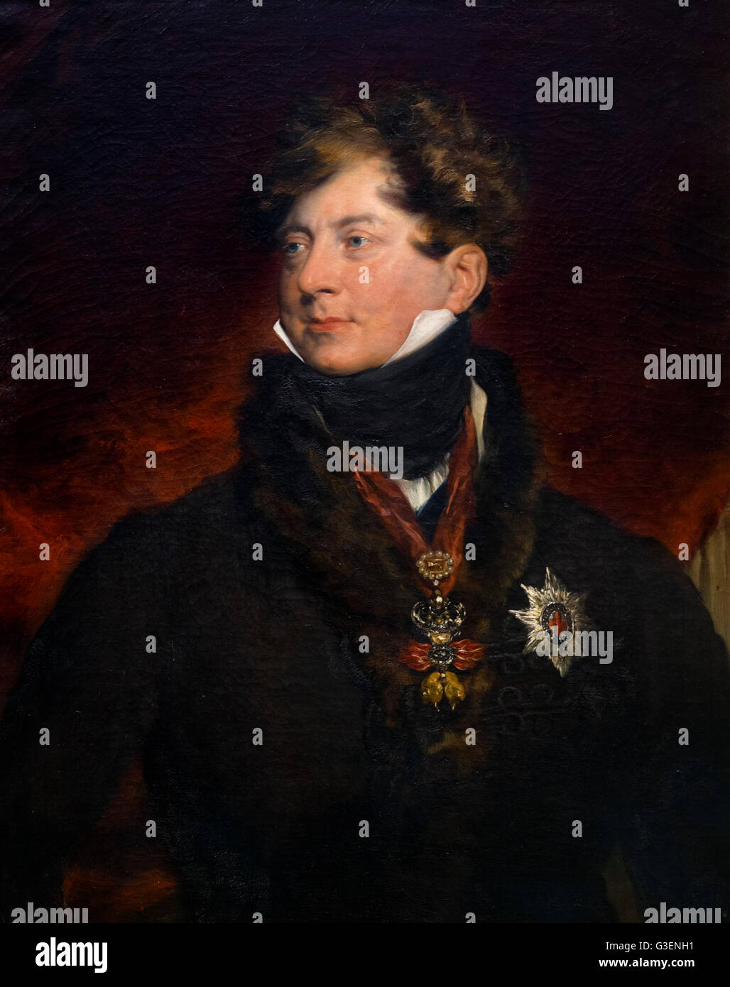 George IV. Portrait of King George IV (George Augustus Frederick; 1762-1830), by Sir Thomas Lawrence, oil on canvas, - Stock Image