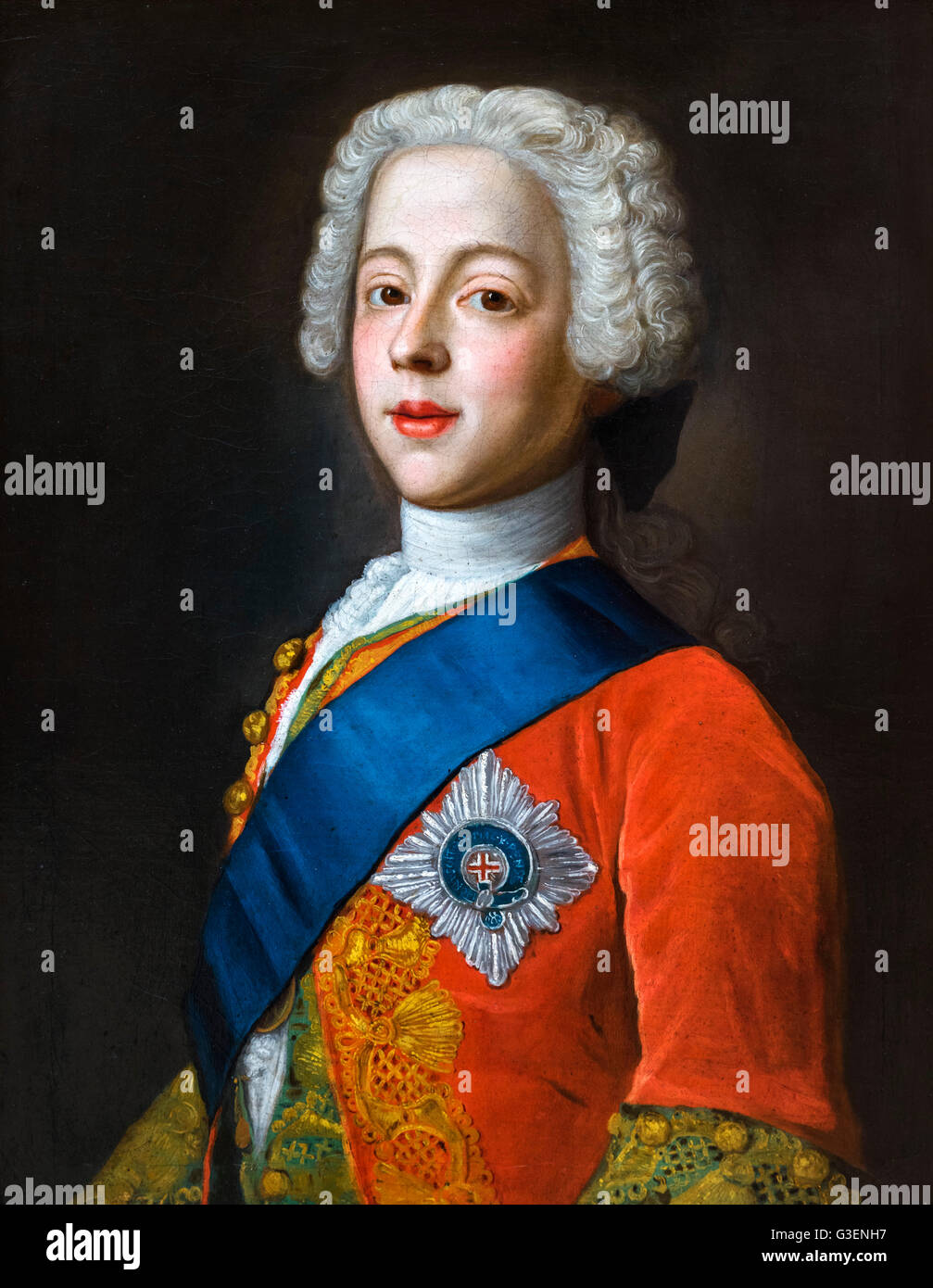 Bonnie Prince Charlie portrait. Prince Charles Edward Stuart (1720- 1788), commonly known as The Young Pretender - Stock Image