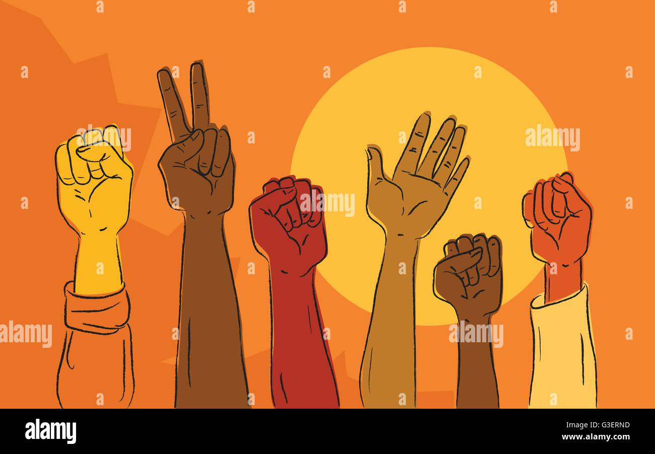 Hands rising at a political protest march, vector illustration - Stock Vector