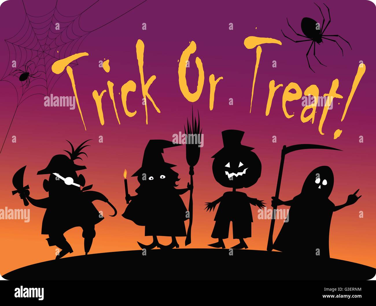 Halloween Trick Or Treat Silhouette.Trick Or Treat Card With Silhouettes Of Four Cute Halloween