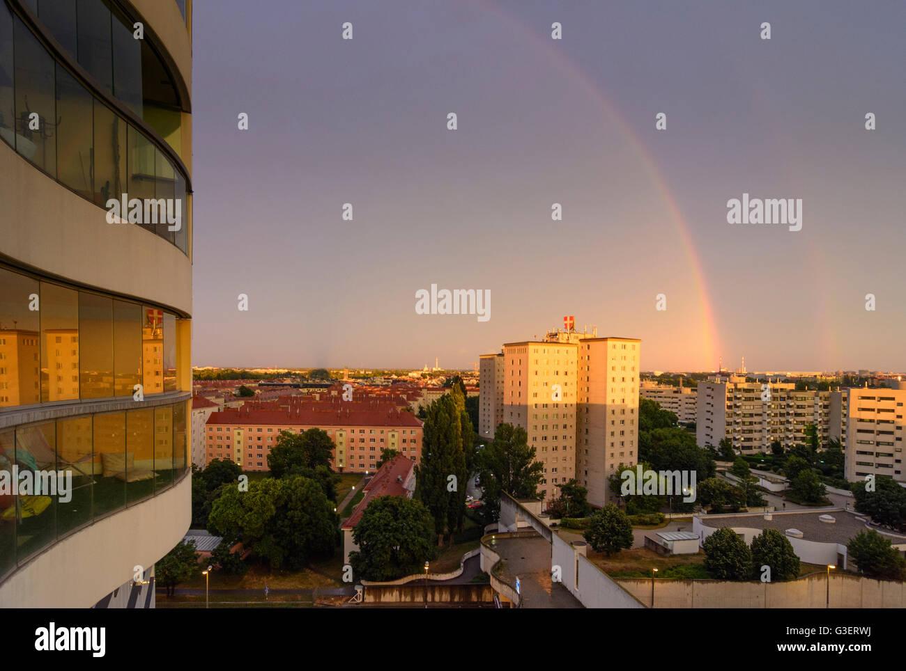double rainbow over Kaisermühlen from Hochhaus Neue Donau, Austria, Wien, 22., Wien, Vienna - Stock Image