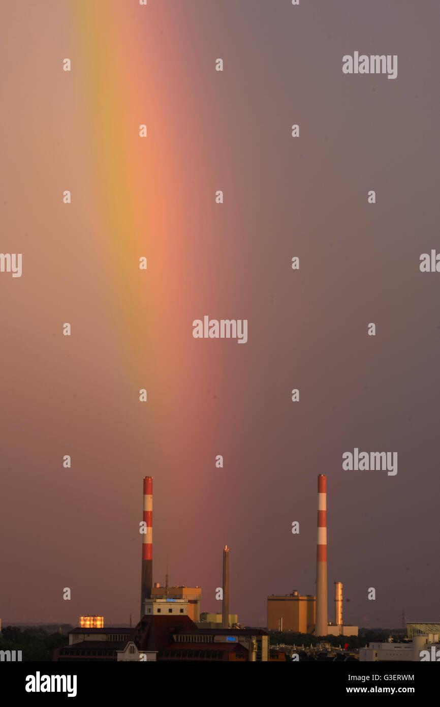 Rainbow at the power plant Simmering of Wienenergie, Austria, Wien, 22., Wien, Vienna - Stock Image