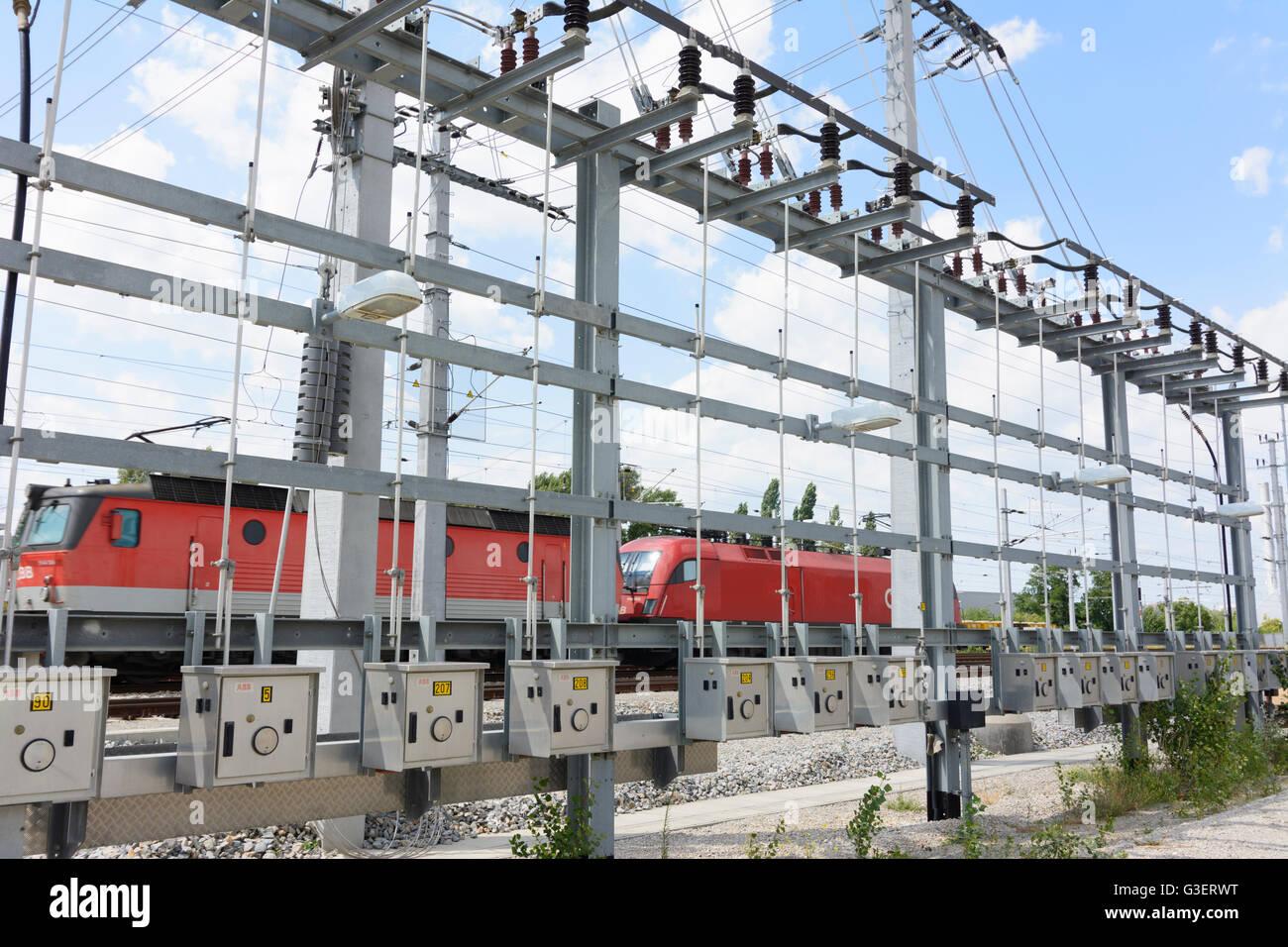 Switching backbone of catenary ÖBB, Austria, Wien, 10., Wien, Vienna - Stock Image