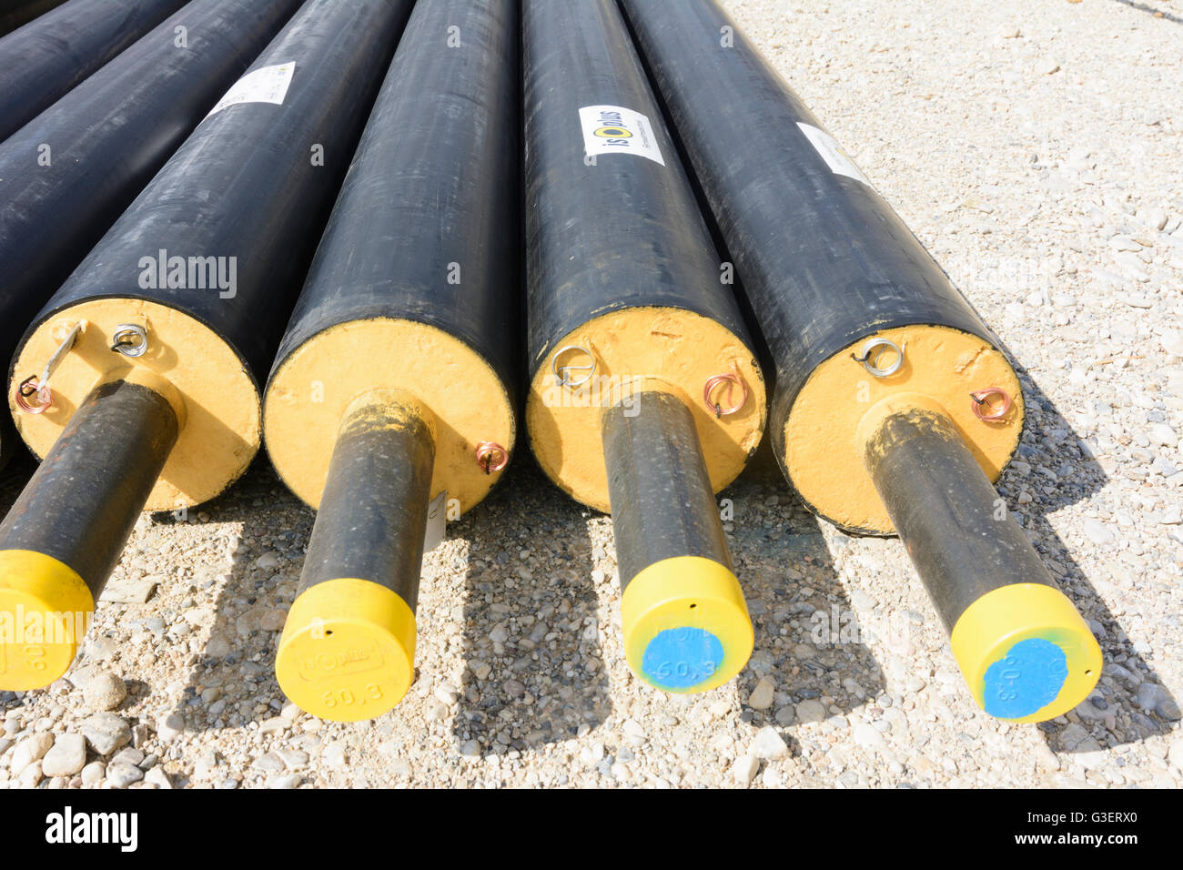 District heating pipes of plastic jacket compound pipe Austria Wien 10. Wien Vienna & District heating pipes of plastic jacket compound pipe Austria ...