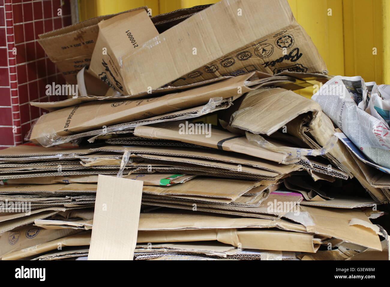 flattened cardboard boxes - Stock Image
