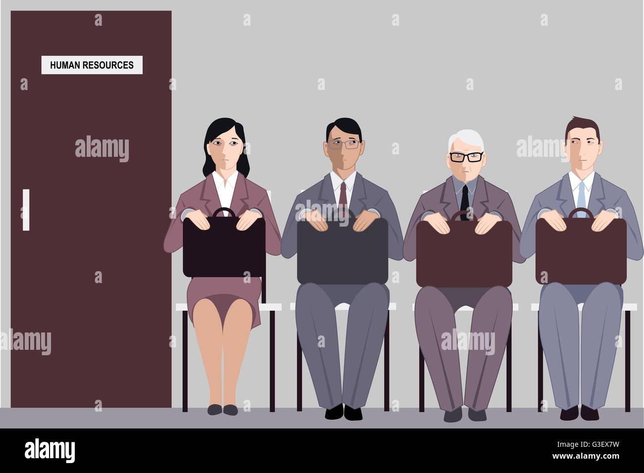 Elderly man sitting in a line to the interview with human resources among much younger job applicants, vector illustration Stock Vector