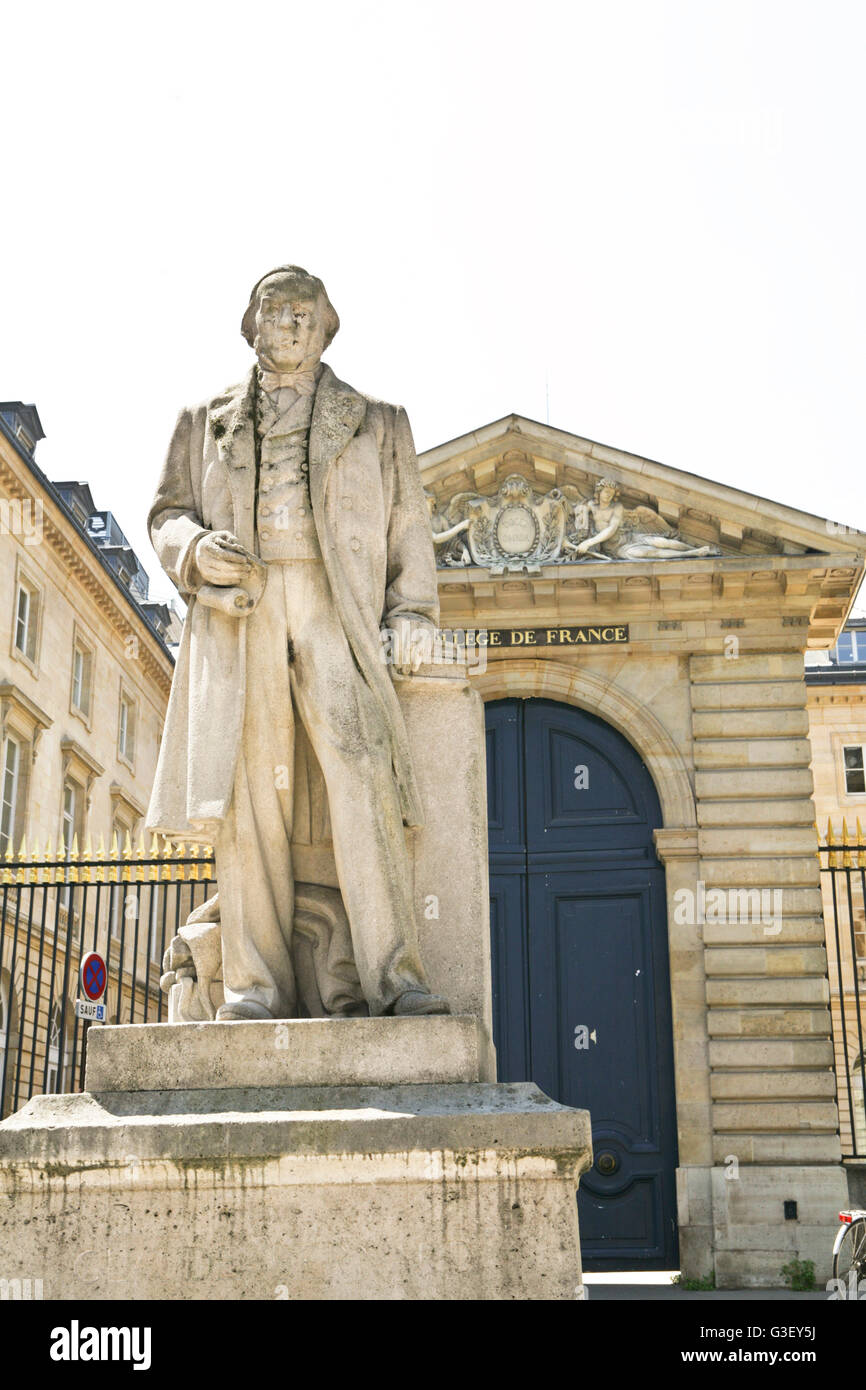 Statue of Claude Bernard, French physiologist, in front of the College of France.Paris ,Latin quarter or 5° - Stock Image