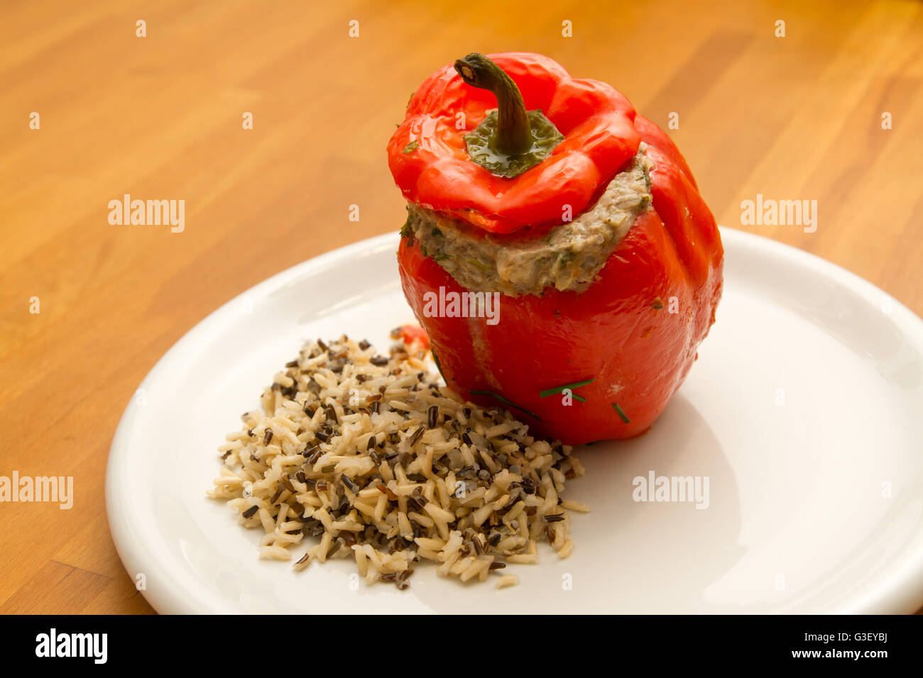 Peppers stuffed with minced meat and rice - Stock Image