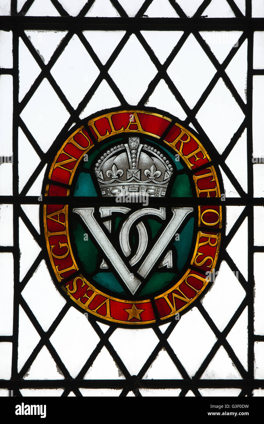 5th Inniskilling Dragoon Guards stained glass, St. Peter and St. Paul Church, Cosgrove, Northamptonshire, England, - Stock Image