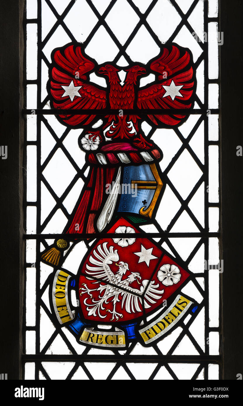 Heraldic stained glass, St. Peter and St. Paul Church, Cosgrove, Northamptonshire, England, UK - Stock Image