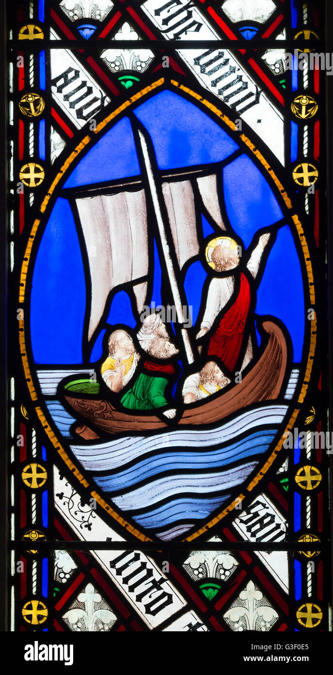 Sea of Galilee stained glass, St. Peter and St. Paul Church, Cosgrove, Northamptonshire, England, UK - Stock Image