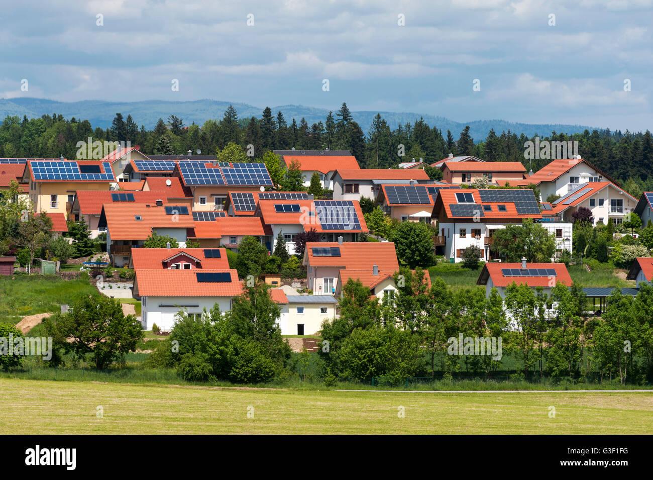View on the landscape near Neukirchen vorm Wald, region Donau-Wald, Bavarian Forest, Lower Bavaria, Bavaria, Germany - Stock Image
