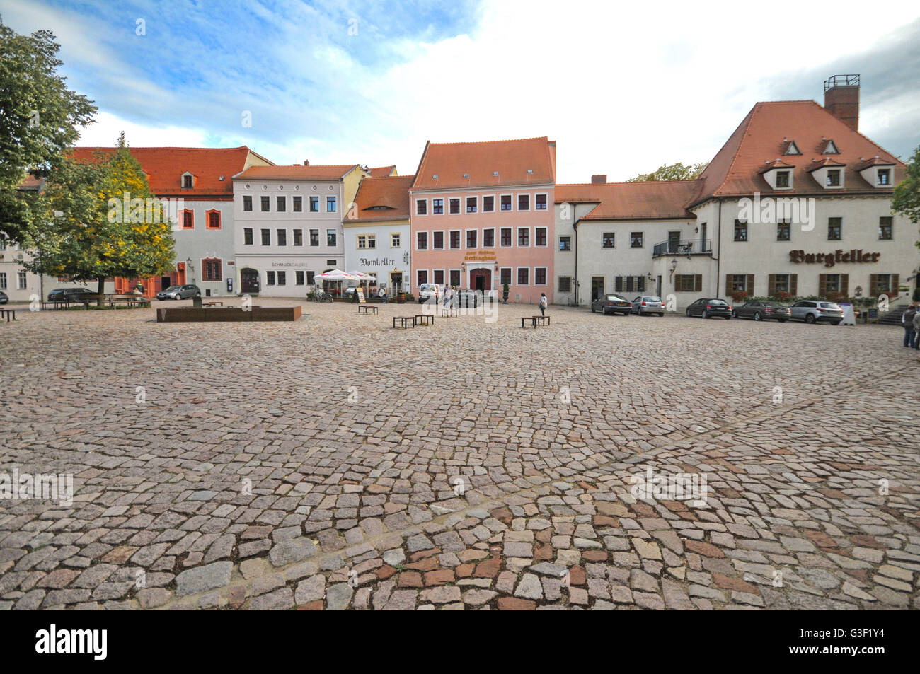 Germany, Saxony, Meißen, cathedral square, manor houses, gastronomy, hotel, well stone Stock Photo