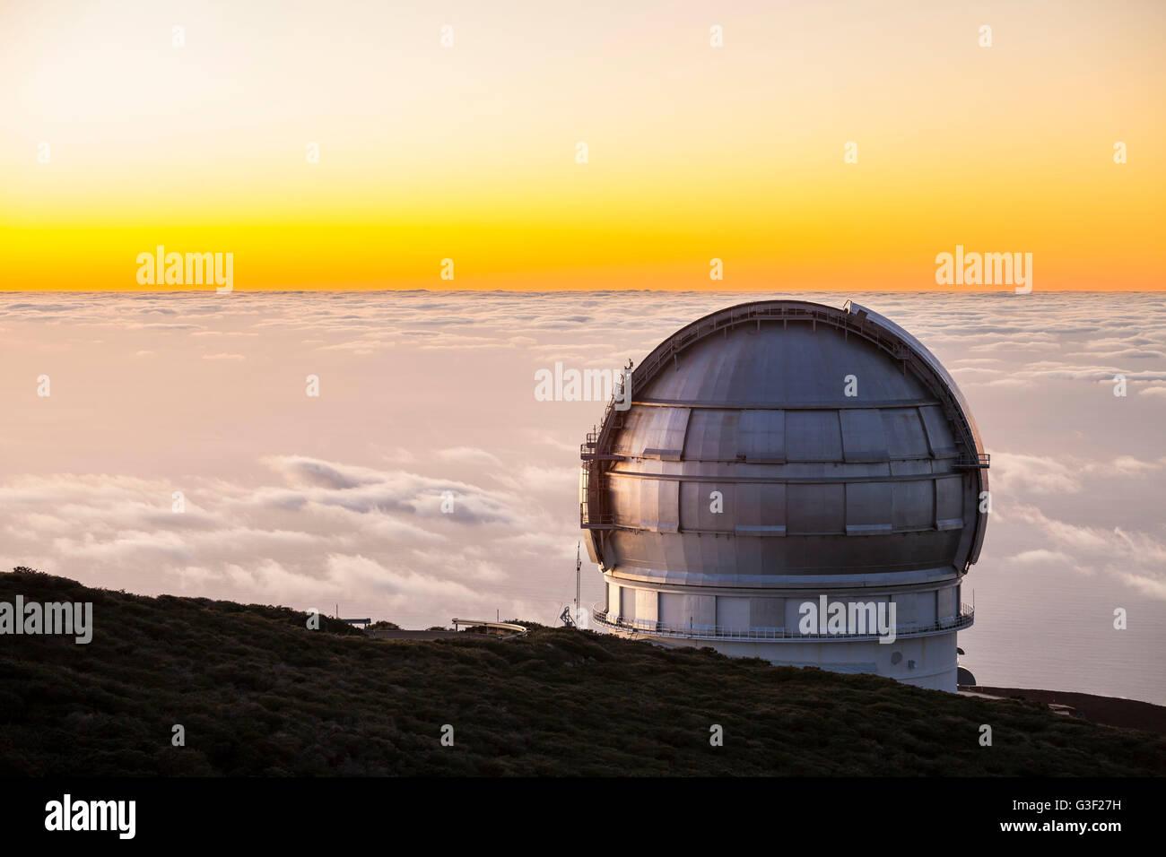 Grain Telescopio Canarias (GTC), observatory on Roque de Los Muchachos, La Palma, Canary Islands, Spain, Europe - Stock Image