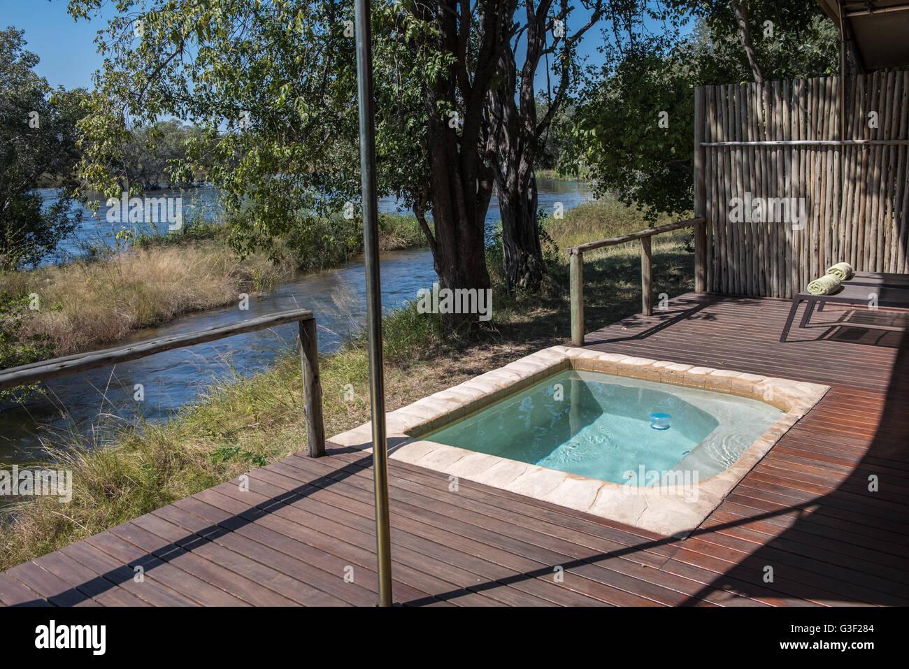 Plunge pool at Zambezi Sands Safari Lodge Zimbabwe - Stock Image