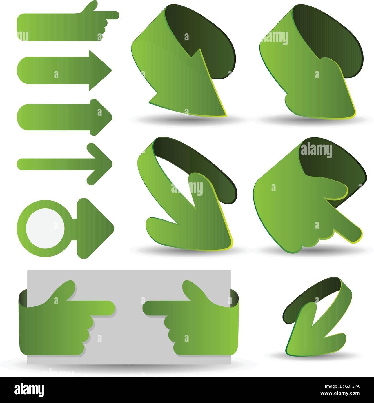 Set of Green 3D Paper Cut Arrow Illustrations Clip-Art - Stock Image