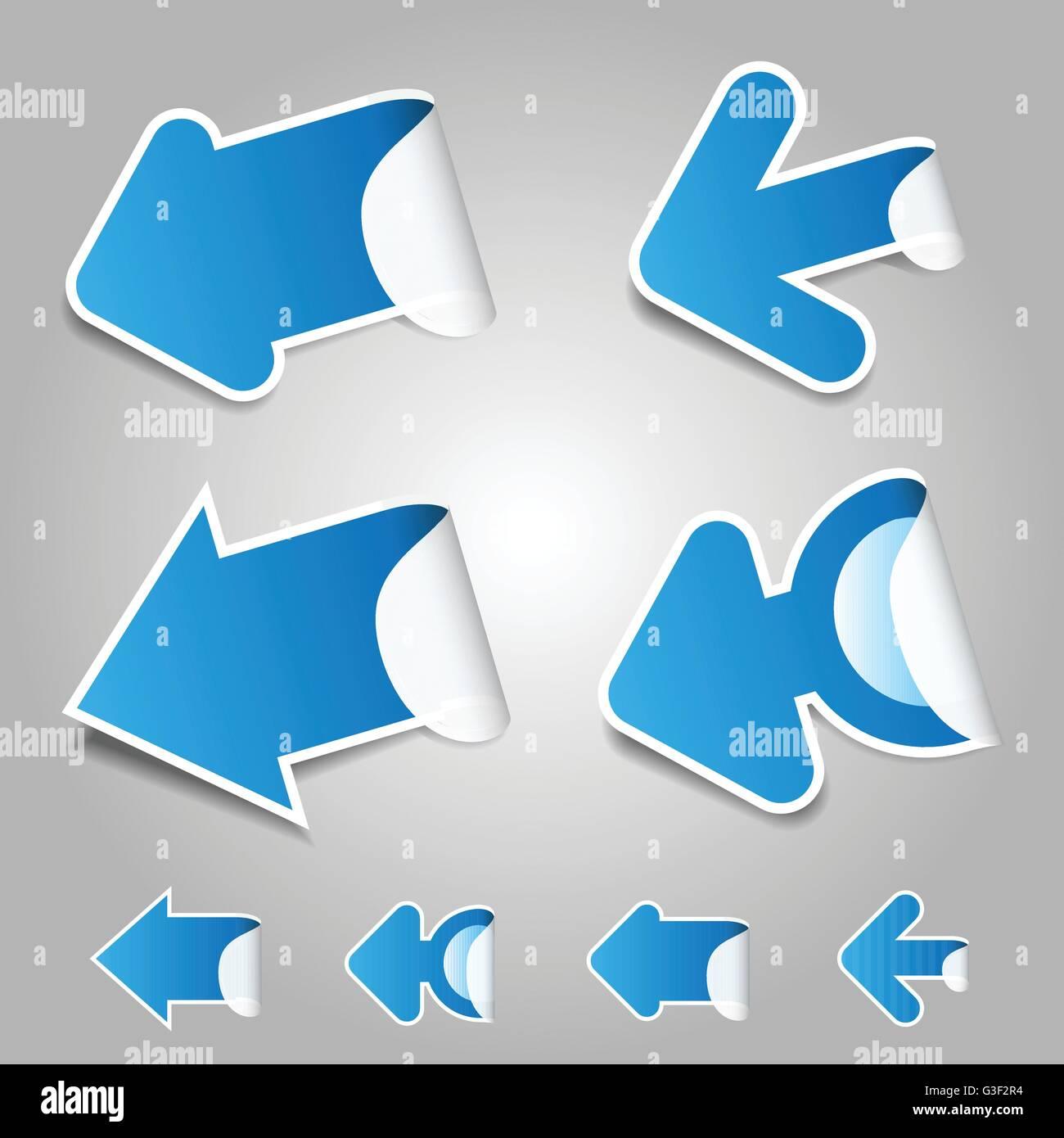 Blue Paper Cut 3D Arrows Set - Stock Image