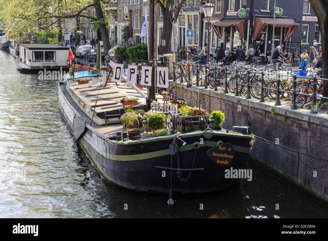 Houseboat museum, Prinsengracht, Amsterdam, Holland, Netherlands - Stock Image