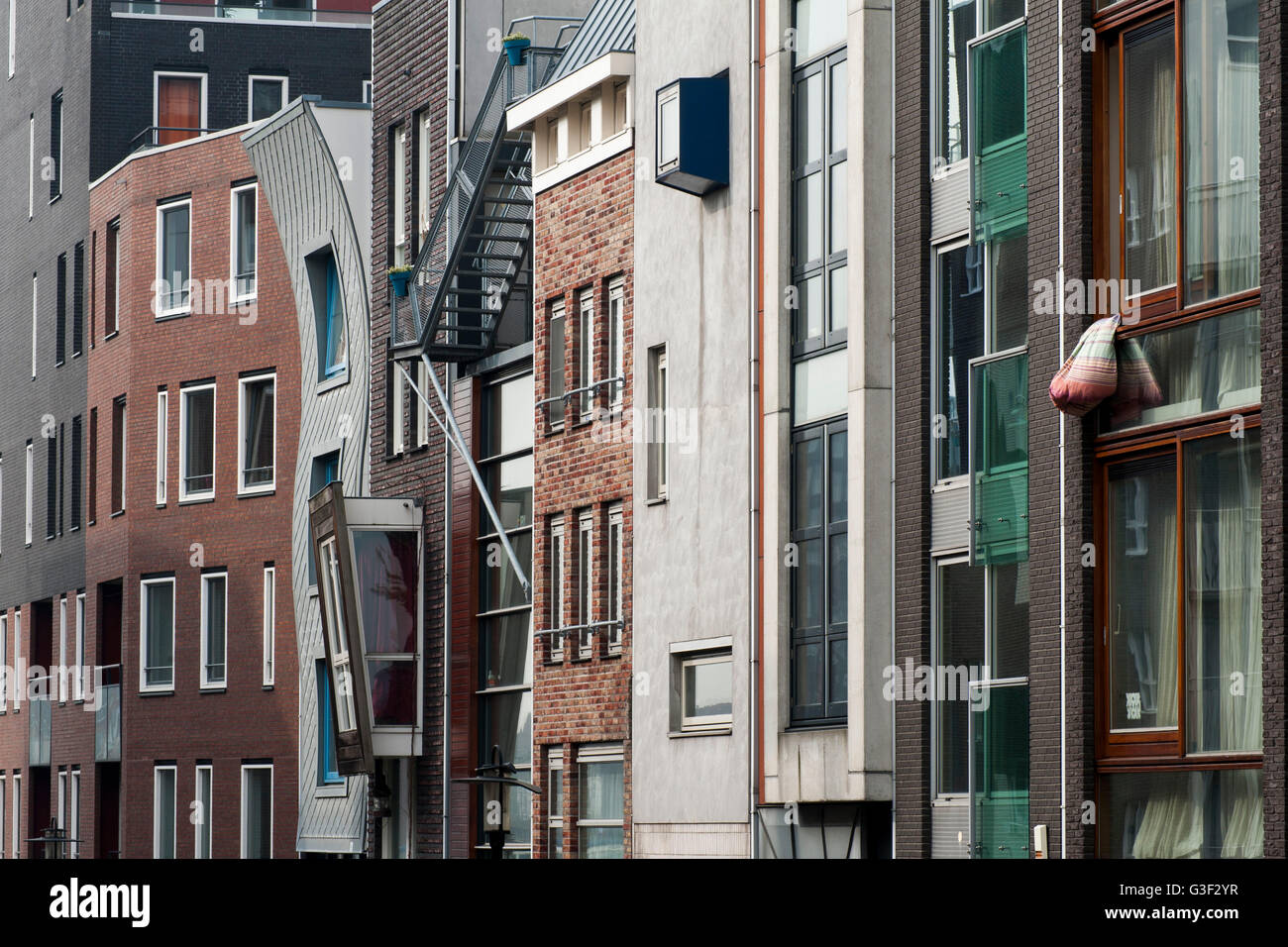 Residential houses on the Java-eiland, Amsterdam, Holland, Netherlands - Stock Image