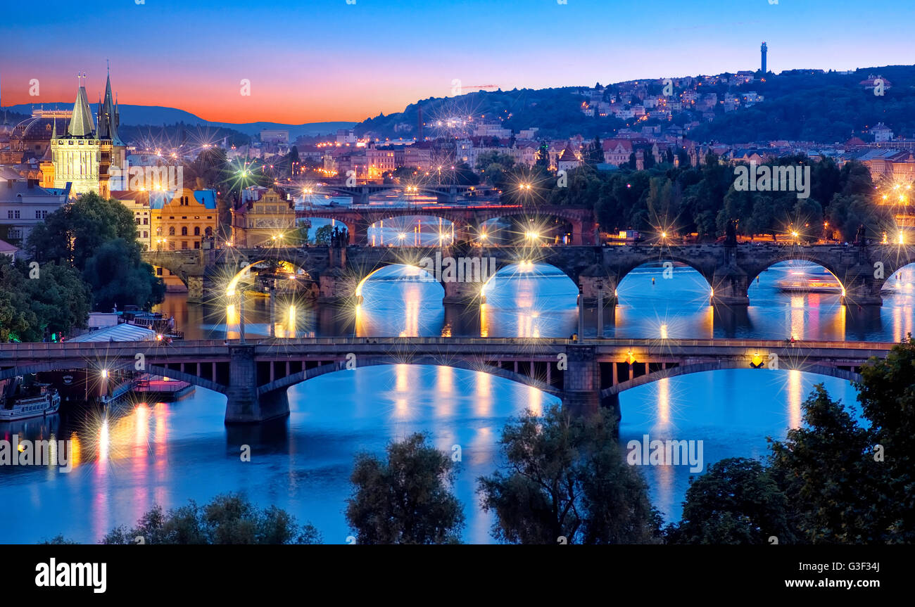 Overview of Prague and Vltava river at night - Stock Image