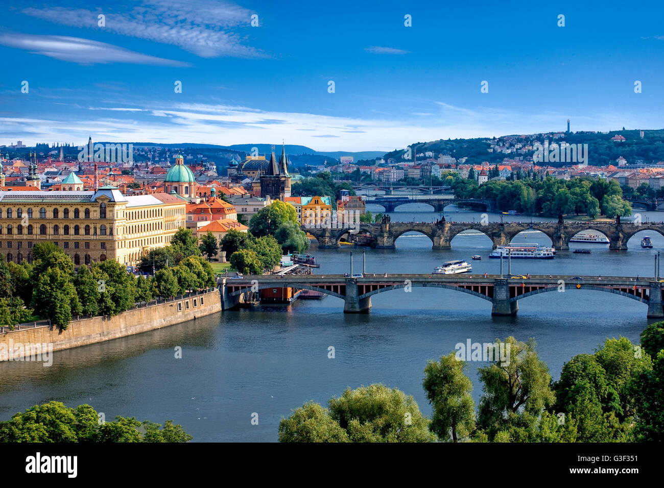 Overview of Prague and Vltava river - Stock Image