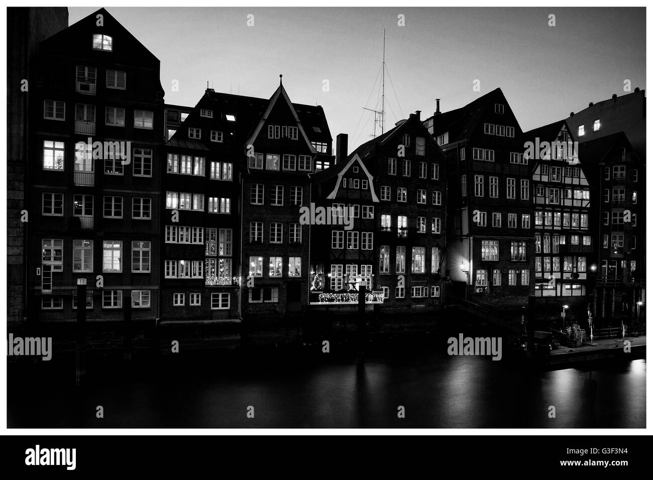 View on historic half timber houses of Deichstrasse in Hamburg, Germany - Stock Image