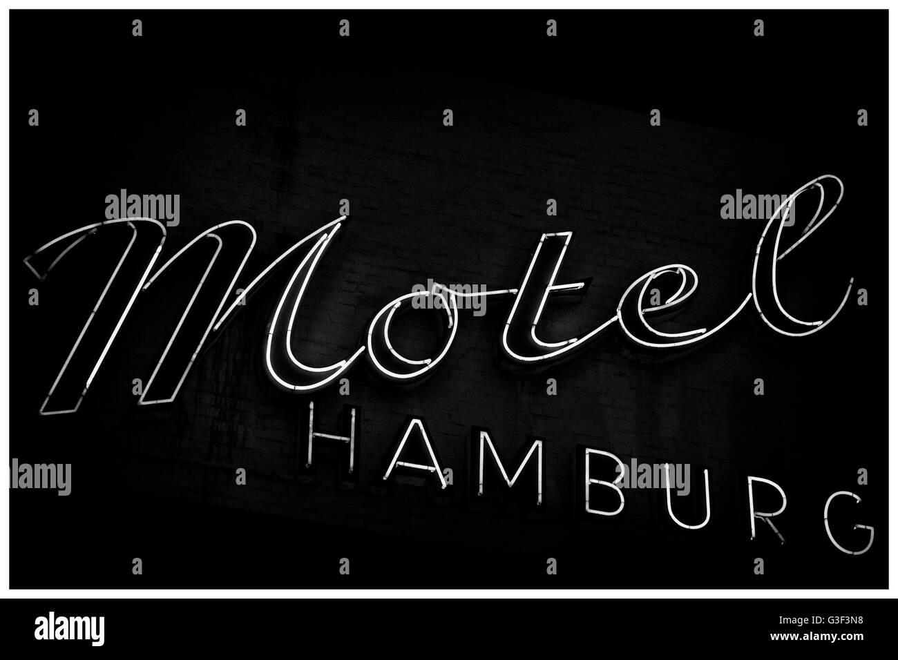 Motel Hamburg sign in Hamburg, Germany - Stock Image