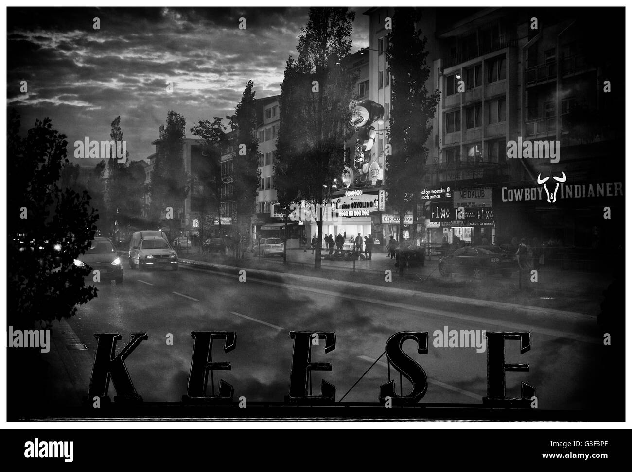 Hamburg at Night: Double Exposure Reeperbahn - Stock Image