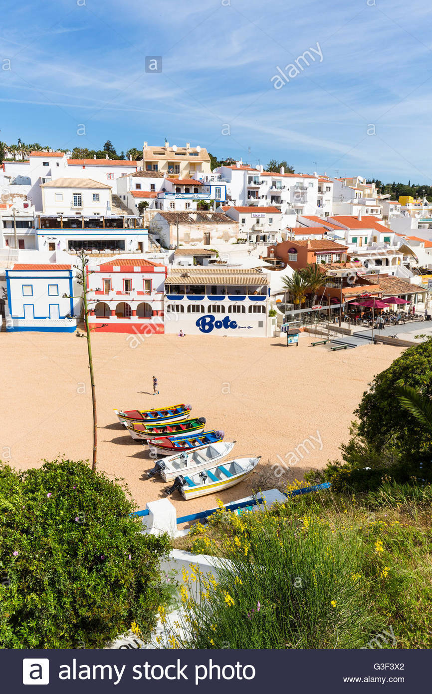Elevated view on Carvoeiro and its beach, Lagoa, Algarve, Portugal Stock Photo