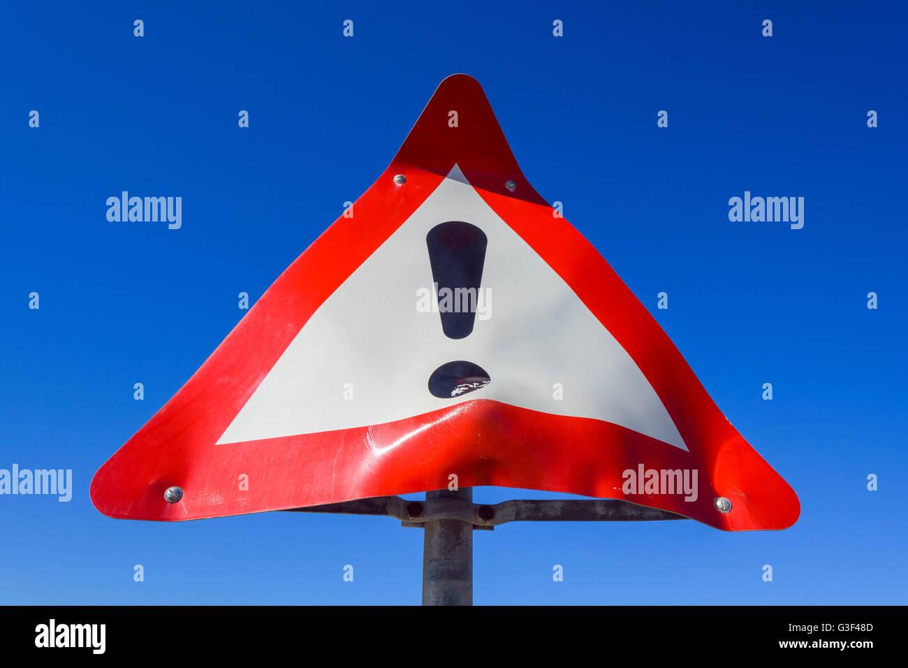 Deformed Warning Sign, Thorup Strand, Fjerritslev, North Jutland, Denmark - Stock Image