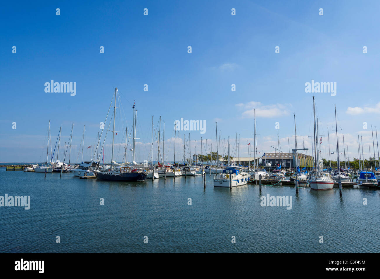 Harbor with Sailing Ships in Summer, Thisted, North Jutland, Denmark - Stock Image