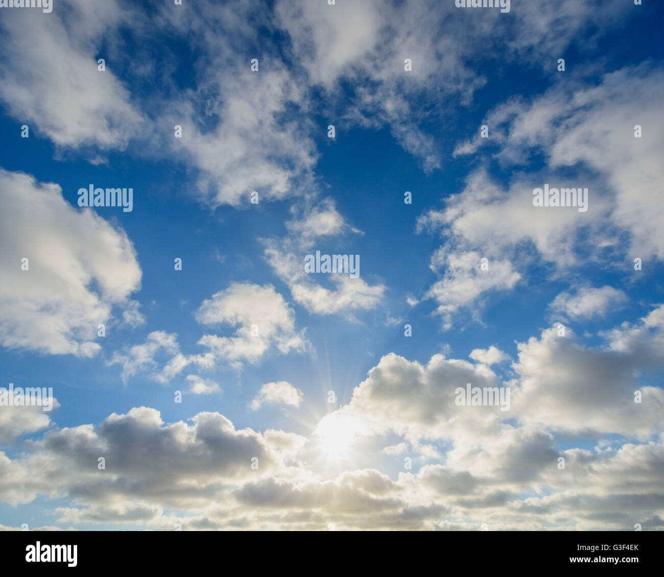 Sky with Clouds and Sun, Sealand Odde, Odsherred, Baltic Sea, Sealand, Denmark - Stock Image