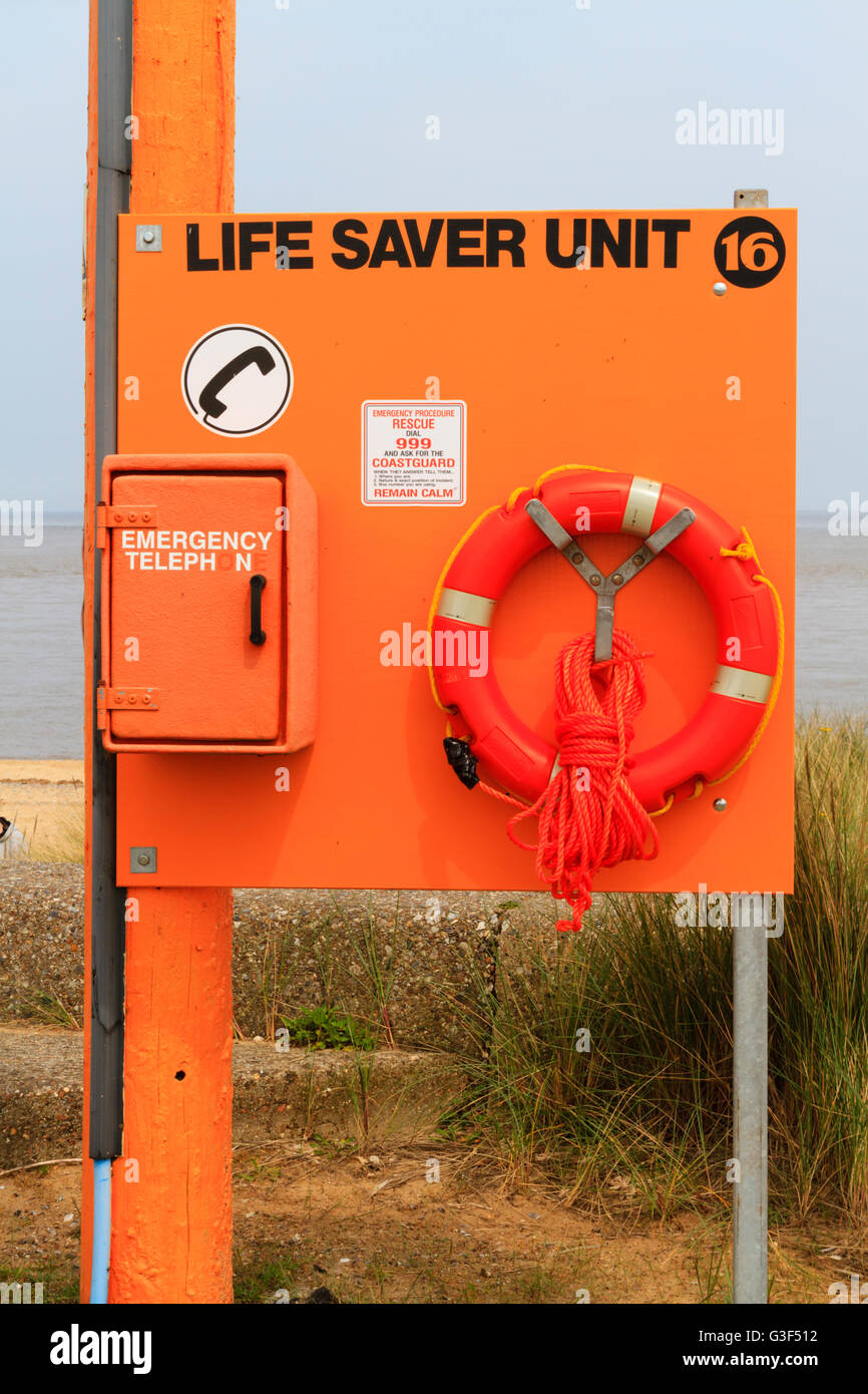 Life Saver Unit on the beach at Caister, Norfolk. - Stock Image