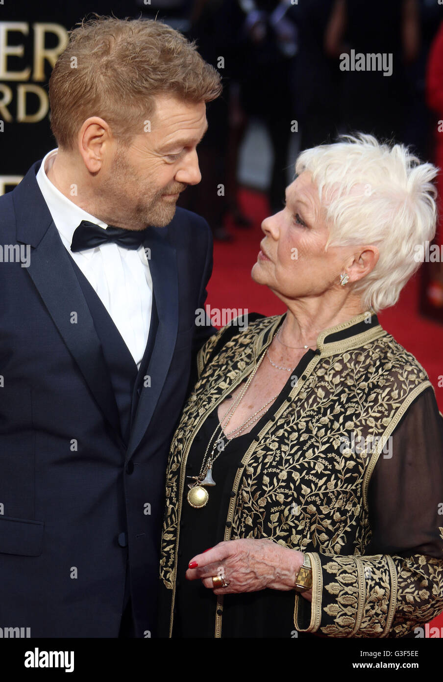 April 3, 2016 - Sir Kenneth Branagh and Dame Judi Dench attending The Olivier Awards 2016 at Royal Opera House, Covent Garden in Stock Photo
