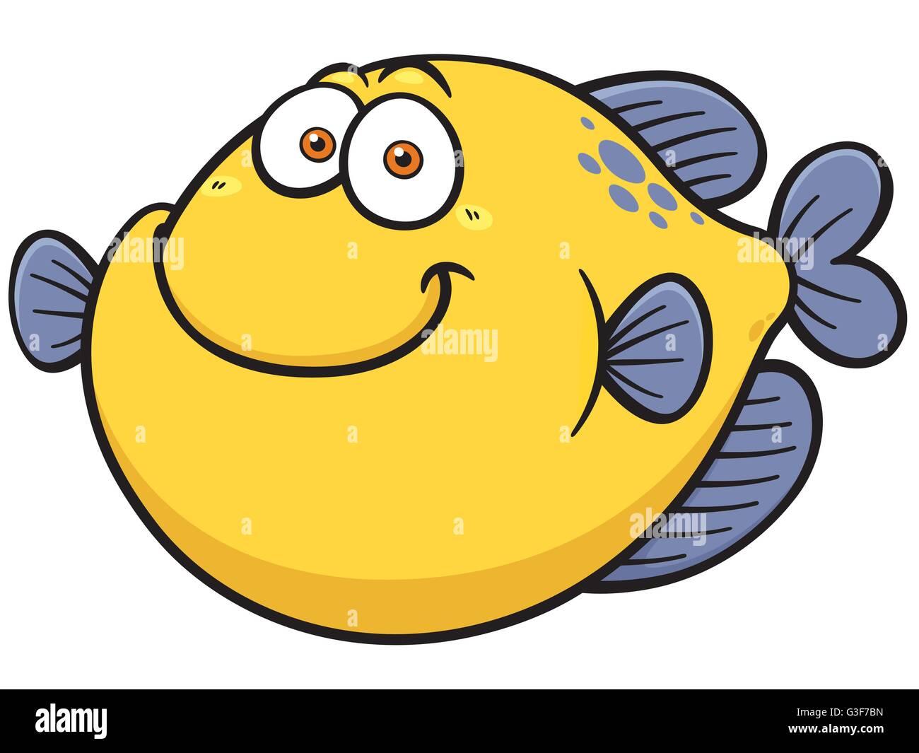 Vector illustration of Fish cartoon - Stock Image