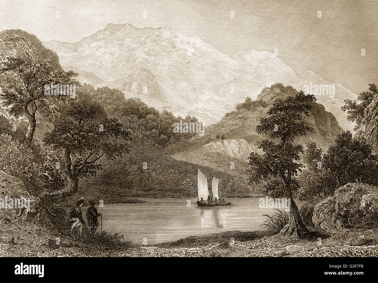 The Trossachs, a small woodland glen in the Stirling council area of Scotland, 19th century - Stock Image