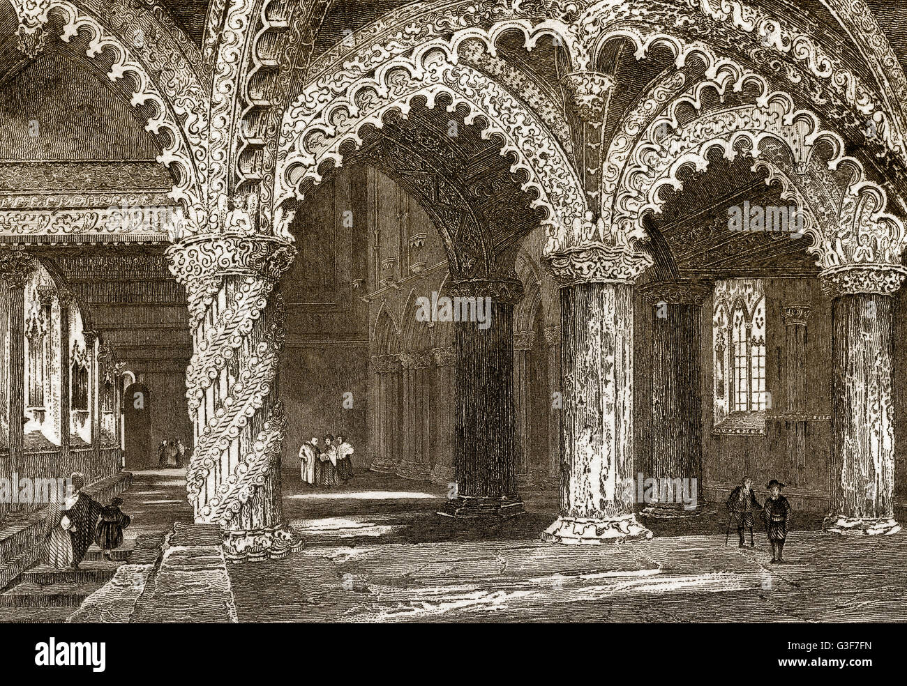 Rosslyn Chapel, the Collegiate Chapel of St Matthew, Roslin, Midlothian, Scotland, 19th century - Stock Image