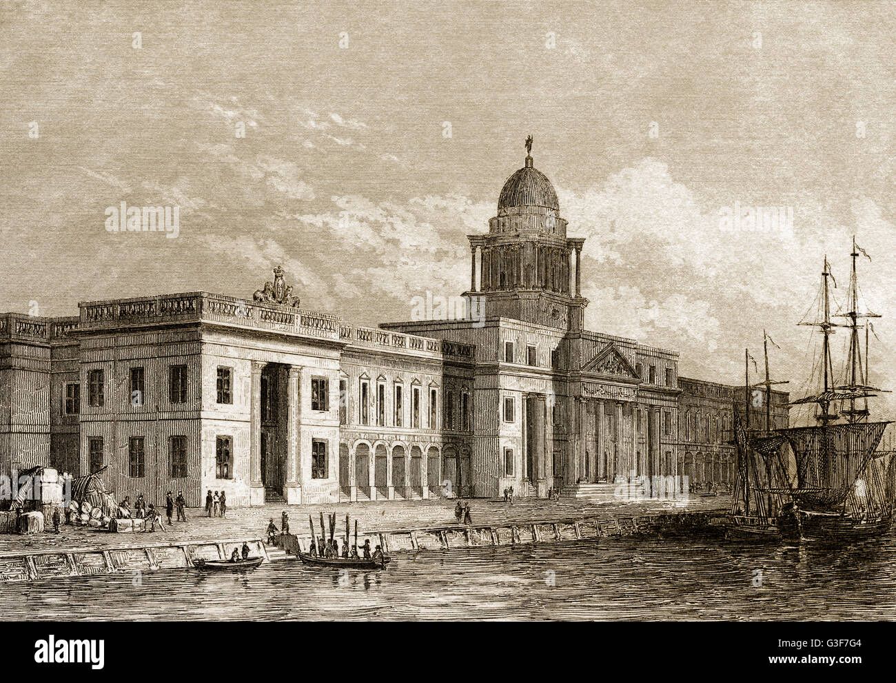 Custom House in Dublin, Ireland, 19th century - Stock Image