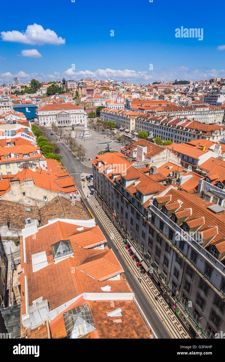 Lisbon, Portugal city skyline over Santa Justa Rua. Stock Photo