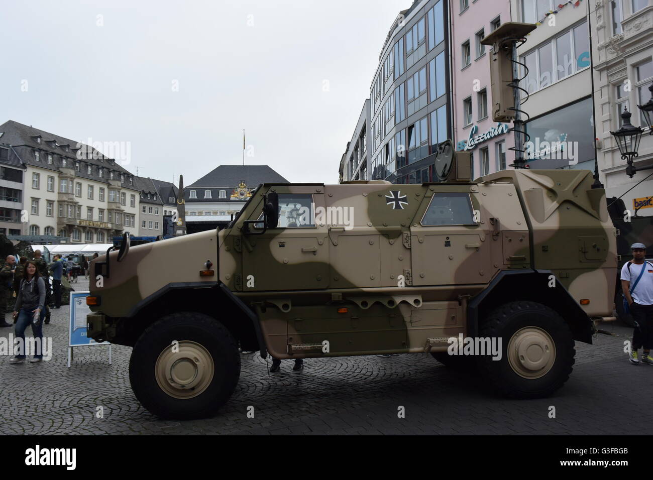 tank car of the German Army on the market place in Bonn, Germany at the Day of the Bundeswehr - Stock Image