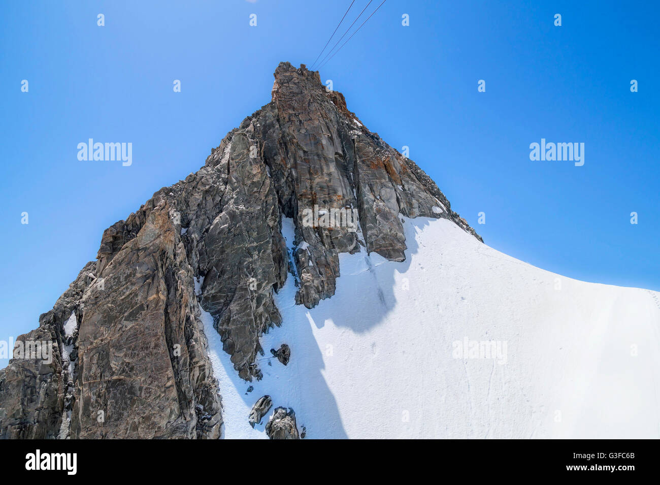 Pointe Helbronner mountain - 3462 m, Monte Bianco massif in Alps (Mont Blanc), Courmayeur ,Aosta Valley ,Italy - Stock Image