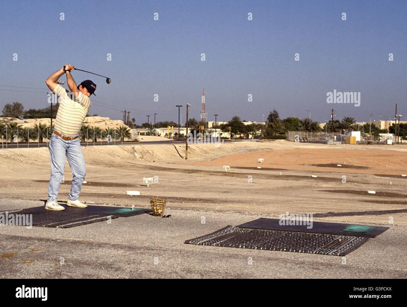 dhahran, saudi arabia - the golf practicing range at the sprawling