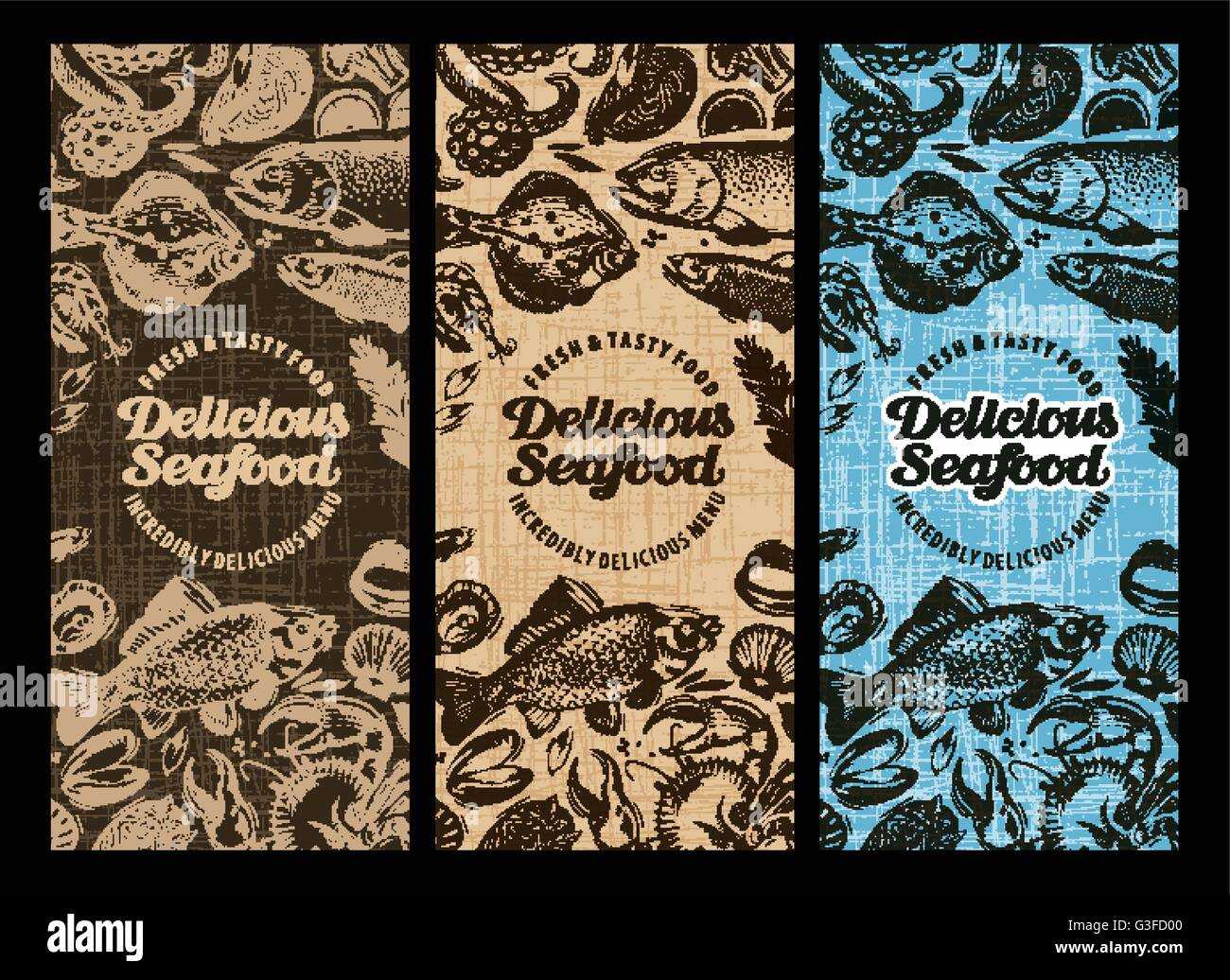 Seafood Restaurant Brochure Menu Design Hand Drawn Food Graphic Stock Vector Image Art Alamy