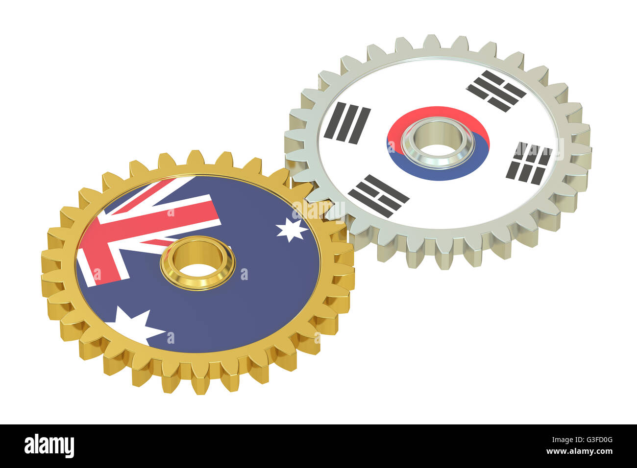 Australia and South Korea flags on a gears, 3D rendering isolated on white background - Stock Image