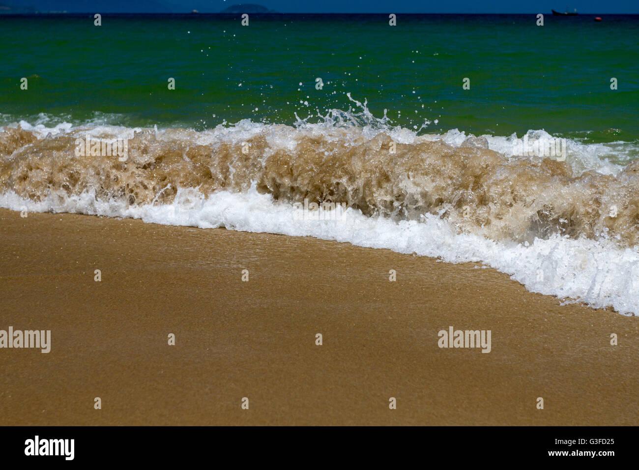 Beautiful shoreline of Nha Trang beach, Vietnam - Stock Image