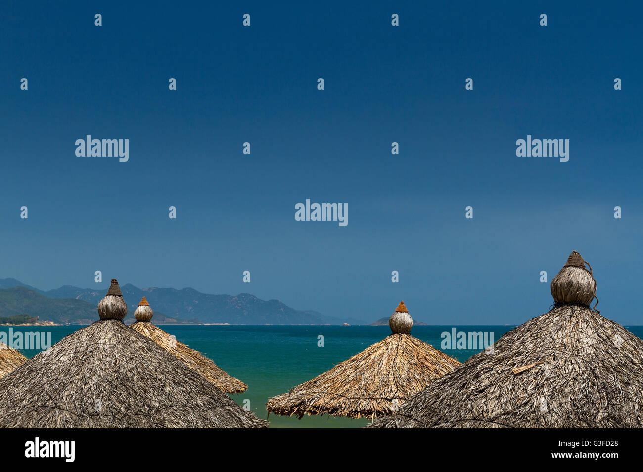 Beautiful shoreine of Nha Trang beach, Vietnam - Stock Image
