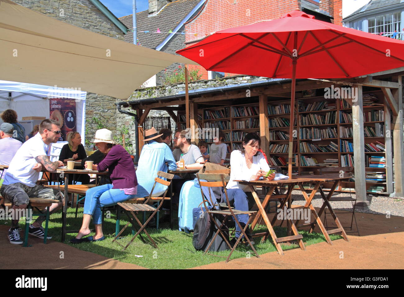 Castle Street Food Market, Hay Castle, Hay-on-Wye, Powys, Wales, Great Britain, United Kingdom, UK, Europe - Stock Image